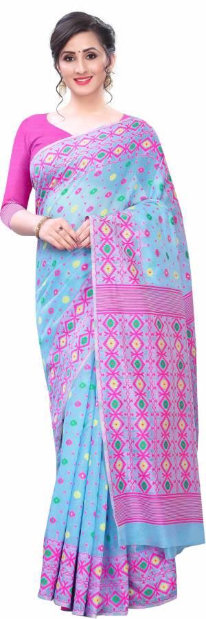 Woven Jamdani Cotton Blend Saree Price in India