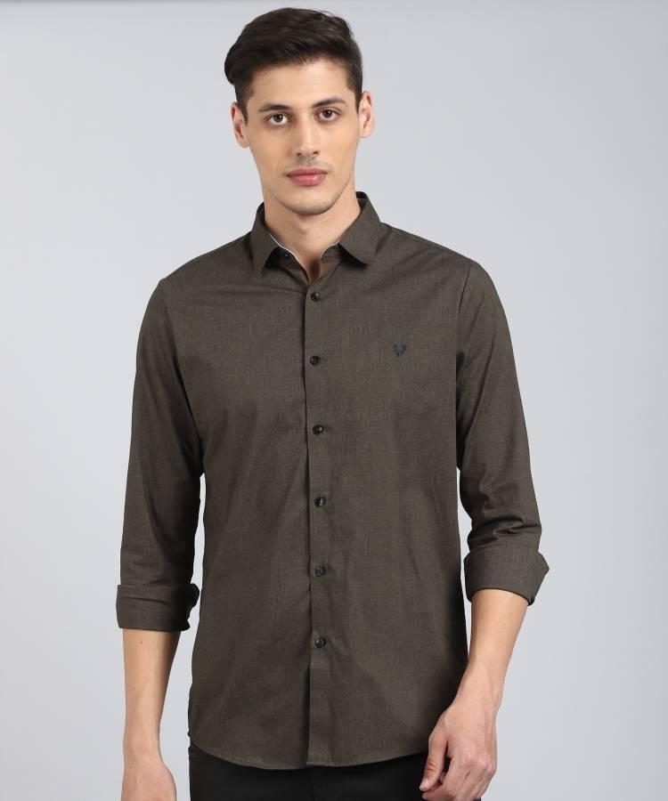 Men Slim Fit Solid Cut Away Collar Casual Shirt Price in India