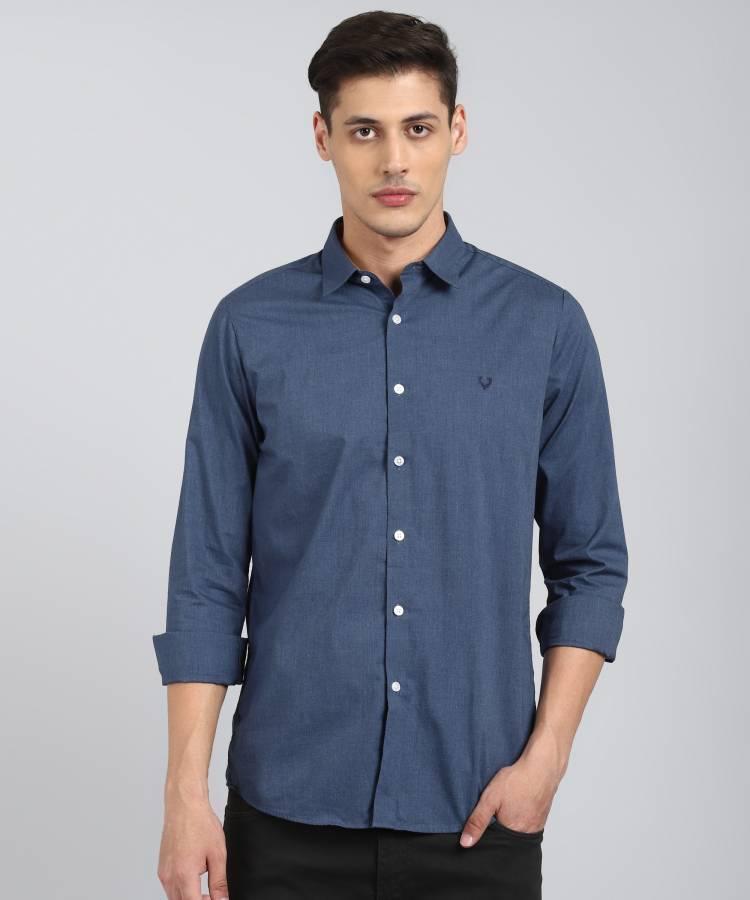 Men Slim Fit Self Design Cut Away Collar Casual Shirt Price in India