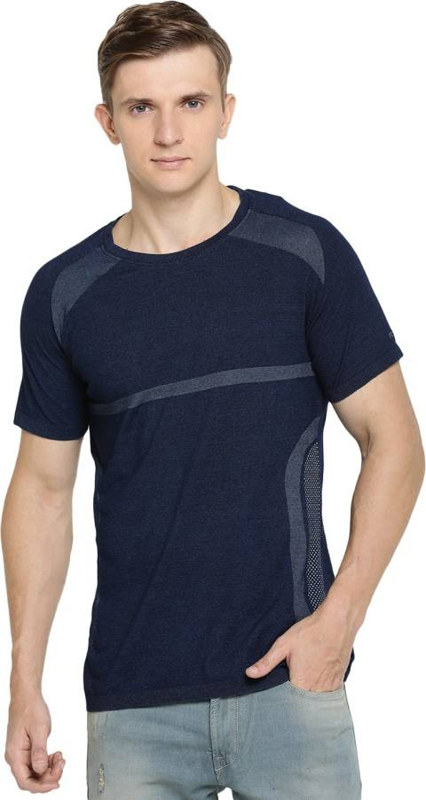 Solid Men Polo Neck Blue T-Shirt Price in India