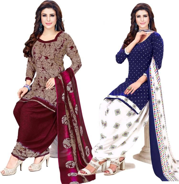 Crepe Checkered, Graphic Print, Printed, Geometric Print Salwar Suit Material Price in India