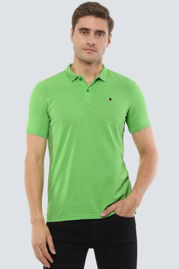Solid Men Polo Neck Green T-Shirt Price in India