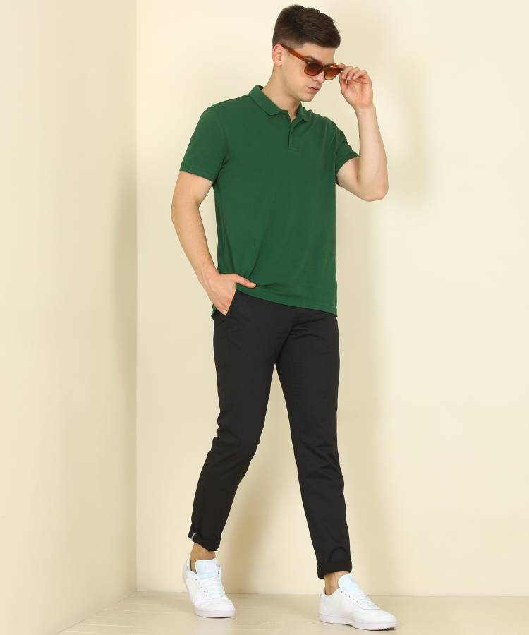 Tapered Men Black Pure Cotton Trousers