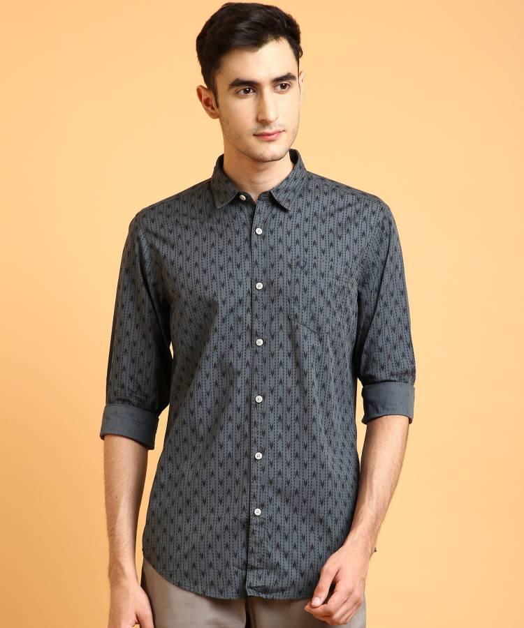 Men Slim Fit Printed Cut Away Collar Casual Shirt Price in India