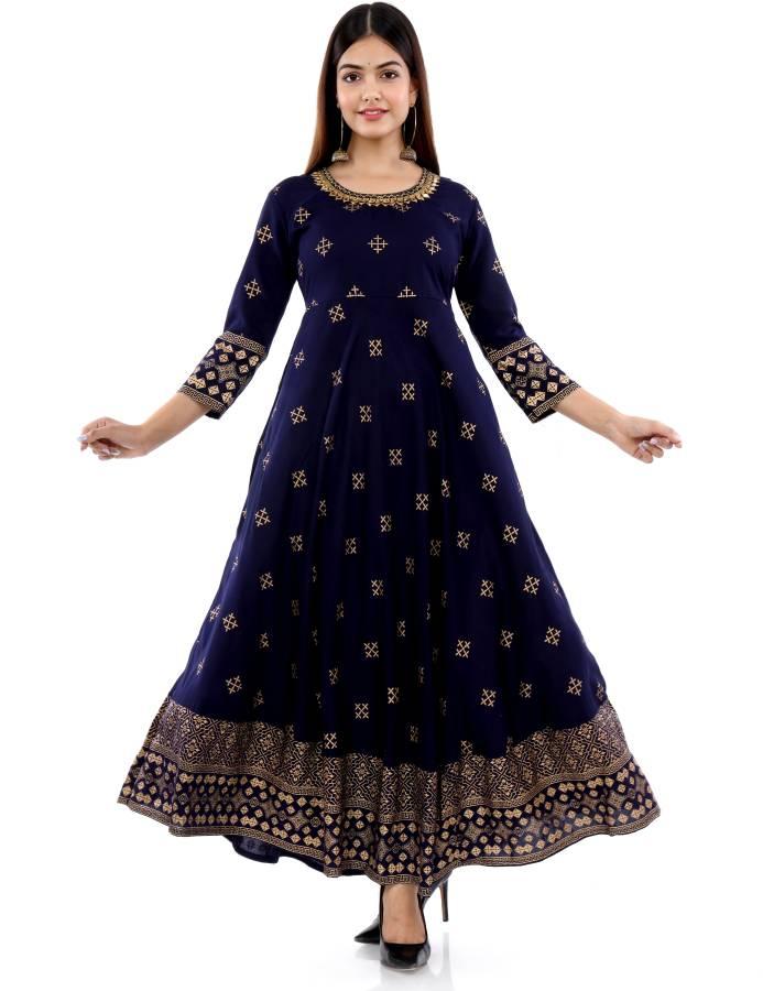 Women Printed Rayon Anarkali Kurta Price in India