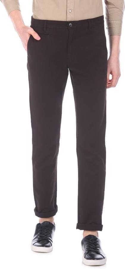 Men Brown Cotton Blend Trousers