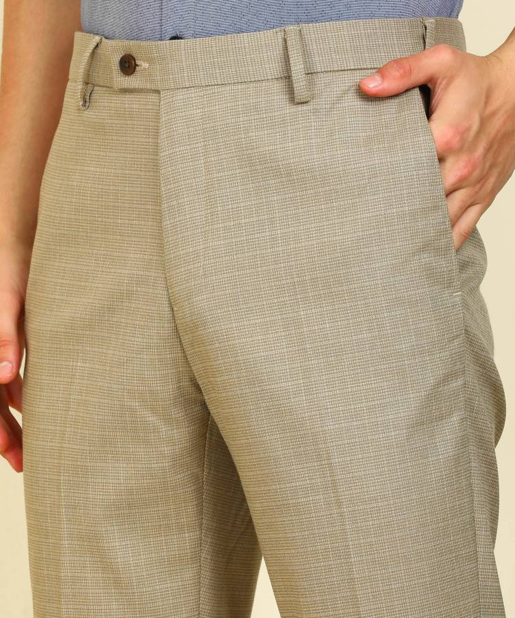 Tapered Men Beige Polyester Viscose Blend Trousers