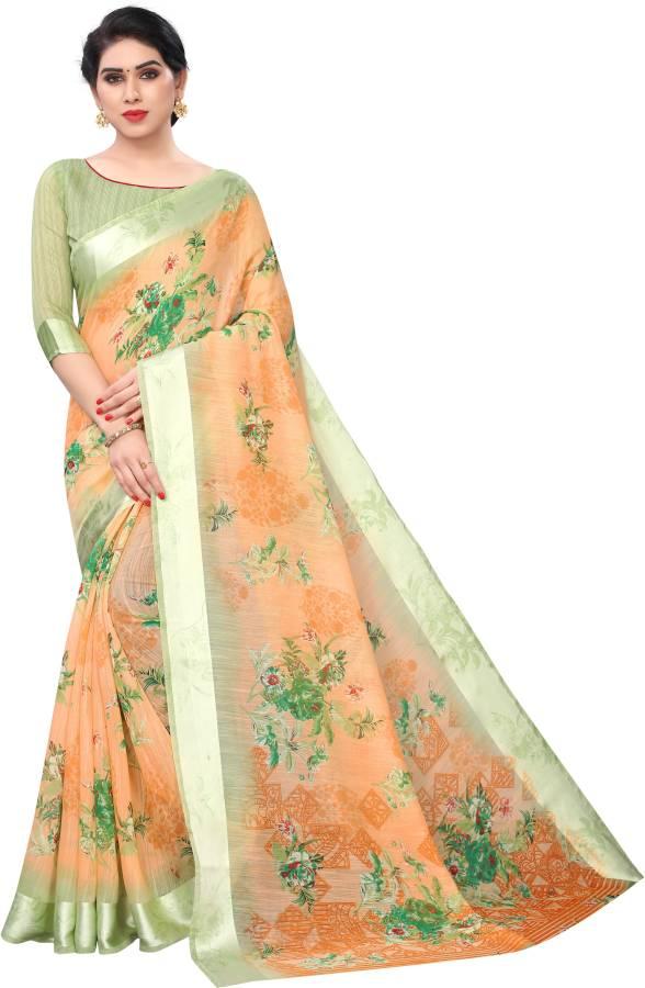 Floral Print Daily Wear Cotton Linen Blend Saree