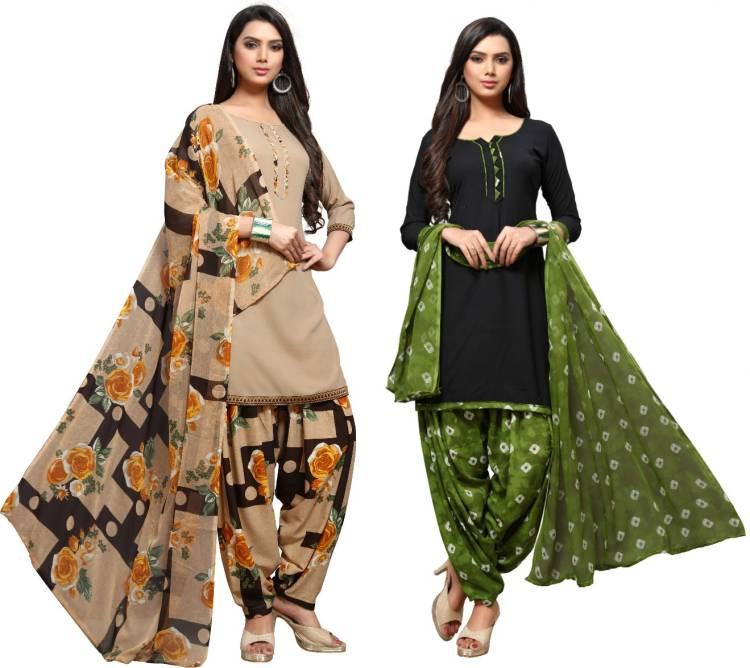 Crepe Printed Salwar Suit Material Price in India