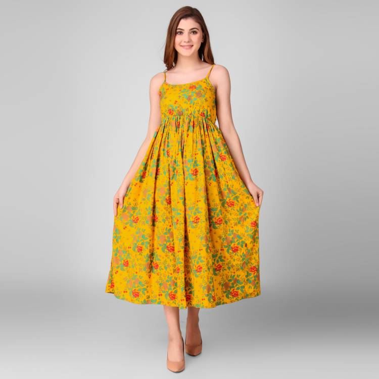 Women A-line Yellow Dress Price in India