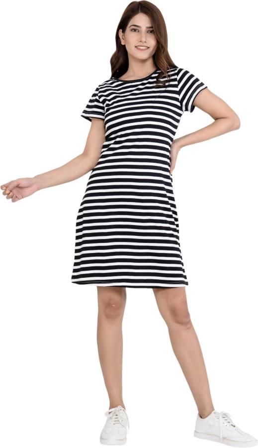 Women T Shirt Black, White Dress Price in India