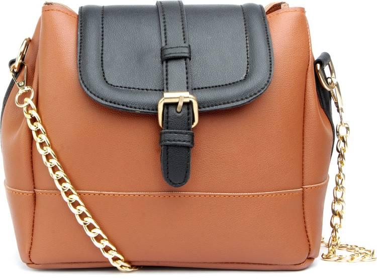 Tan, Black Women Sling Bag Price in India