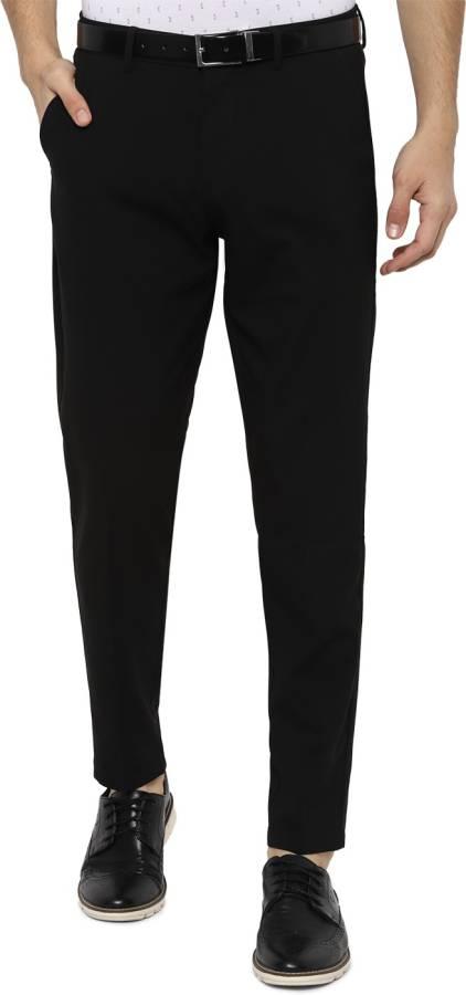 Slim Fit Men Black Polyester Viscose Blend Trousers