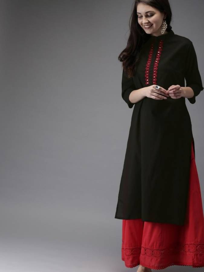 Women Solid Rayon A-line Kurta Price in India