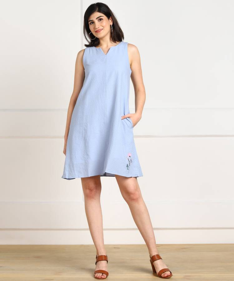 Women A-line Light Blue Dress Price in India