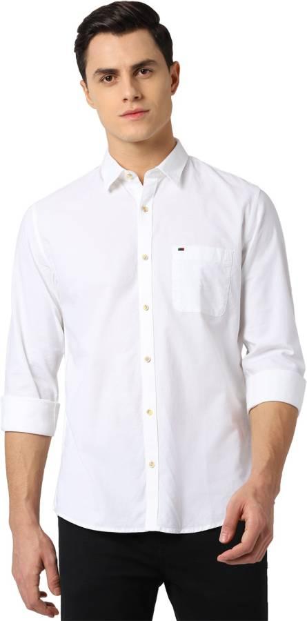 Men Slim Fit Solid Spread Collar Casual Shirt Price in India