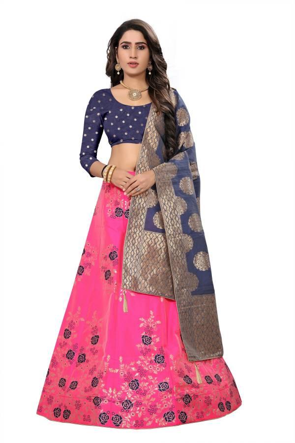Floral Print Semi Stitched Lehenga Choli Price in India