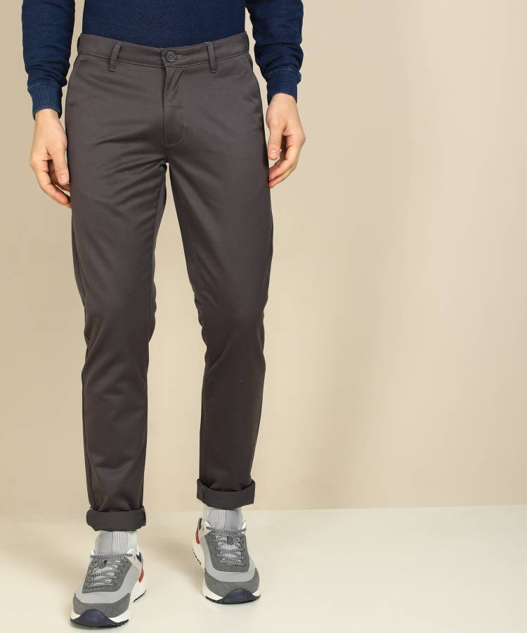 Tapered Men Grey Polycotton Trousers