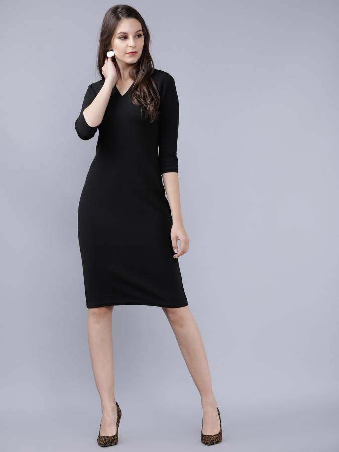 Women A-line Black Dress Price in India