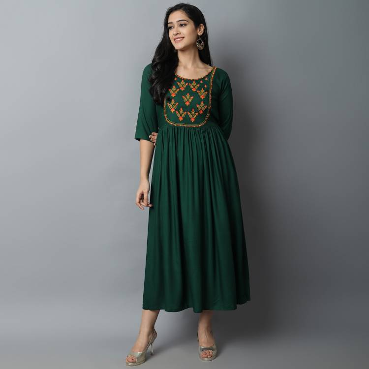 Women Embroidered Rayon A-line Kurta Price in India