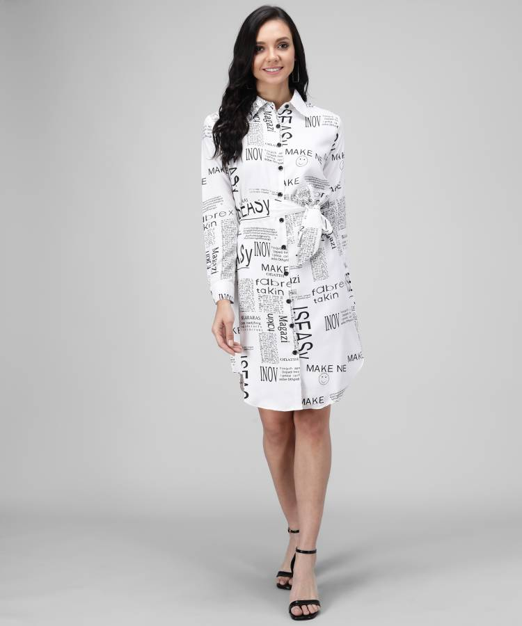 Women Shirt White, Black Dress Price in India