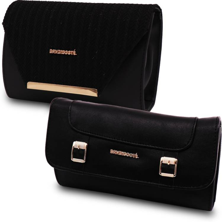 Casual, Party, Formal, Sports Black, Black  Clutch Price in India