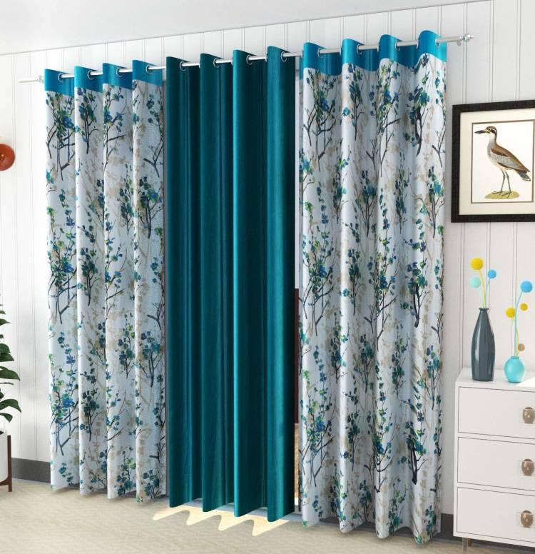 EISMOURAH 240 cm (8 ft) Polyester Long Door Curtain (Pack Of 3)
