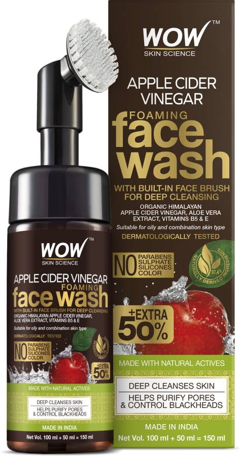 WOW Skin Science Apple Cider Vinegar Foaming  150mL - No Parabens, Sulphate Face Wash Price in India