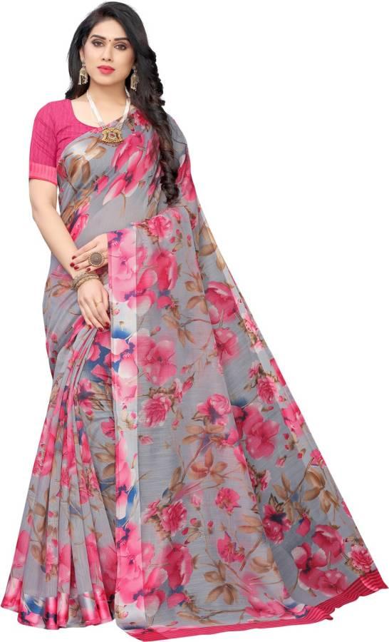 Printed Fashion Cotton Blend Saree Price in India
