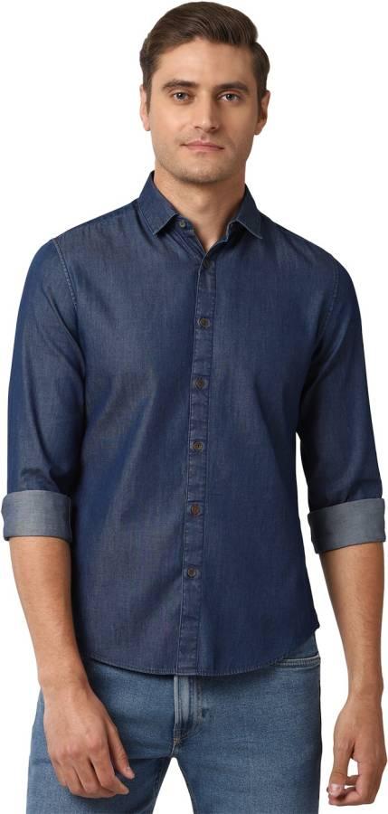 Men Super Slim Fit Solid Spread Collar Casual Shirt Price in India