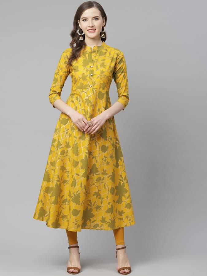 Women Printed Pure Cotton A-line Kurta Price in India