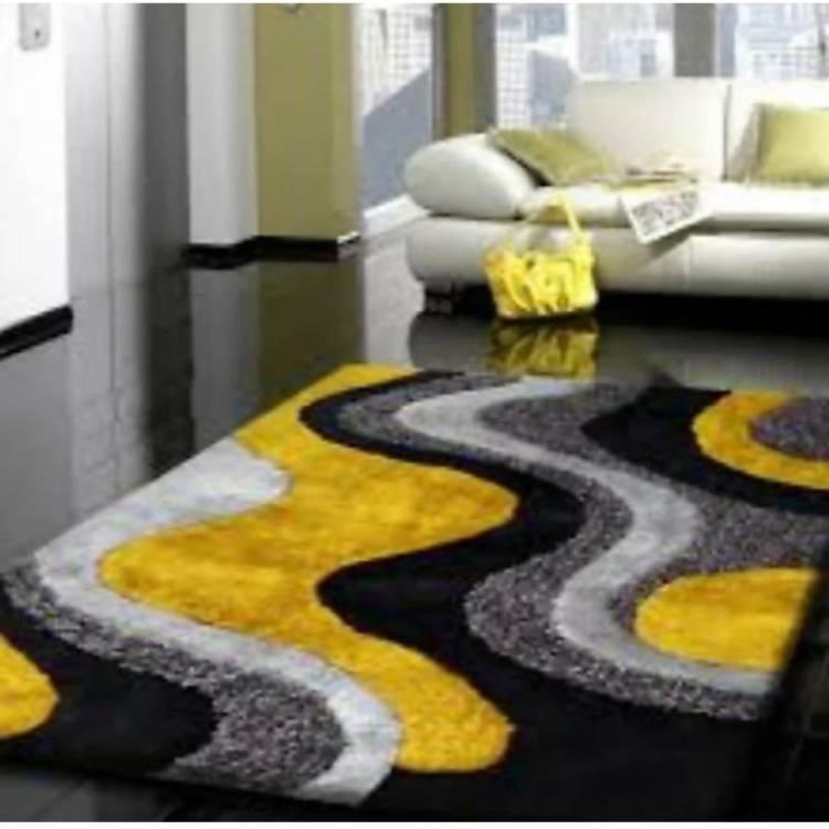 RM Handloom Yellow, Black Polyester Carpet