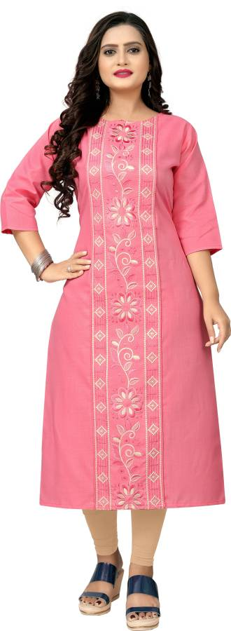 Women Embroidered Cotton Blend Straight Kurta Price in India
