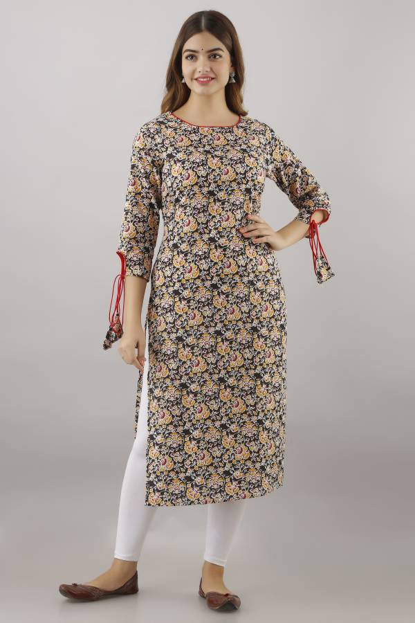 Women Printed Pure Cotton Straight Kurta Price in India