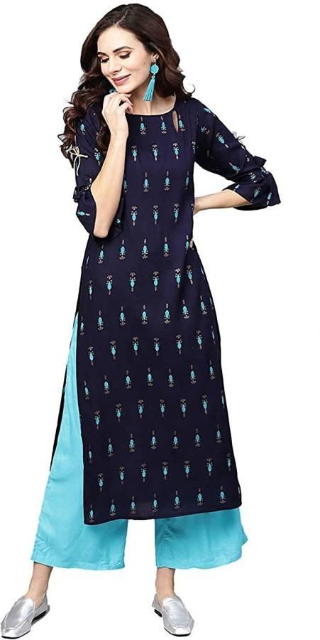 Women Printed Rayon Straight Kurta Price in India