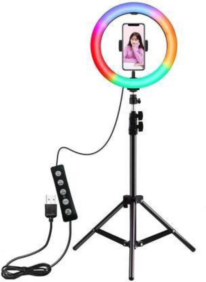 """EWELL 10"""" Ring Light with 7 FT. Stand and Phone Holder, RGB 13 Colors Led Selfie Ringlight with 2 Tripods Remote, for Camera YouTube TikTok Video Recording Live Stream Room-A Tripod Kit"""