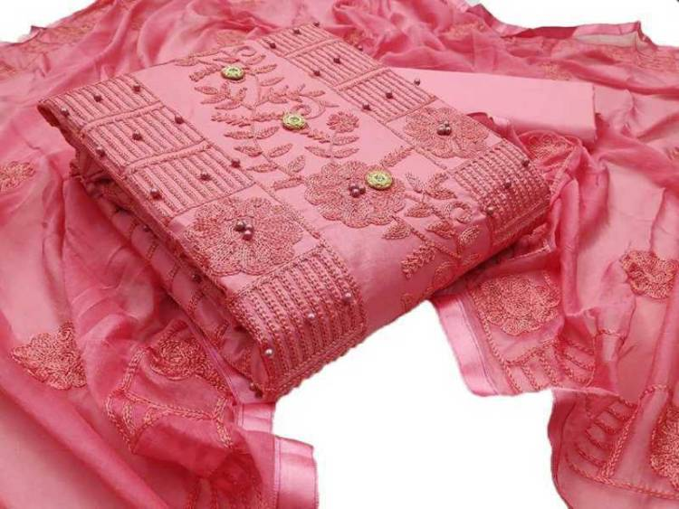 Pure Cotton Embroidered Kurta & Churidar Material Price in India