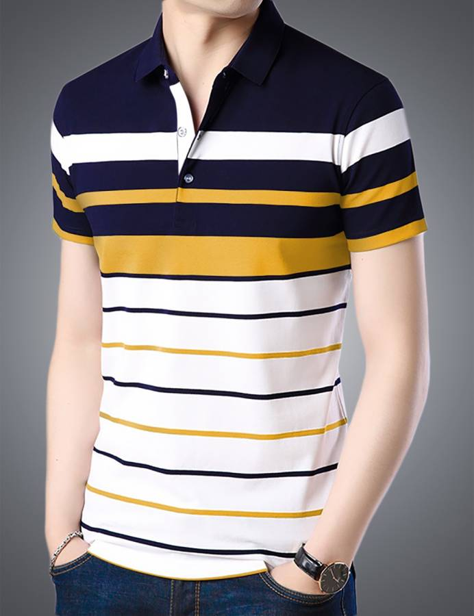 Striped Men Polo Neck Dark Blue T-Shirt Price in India
