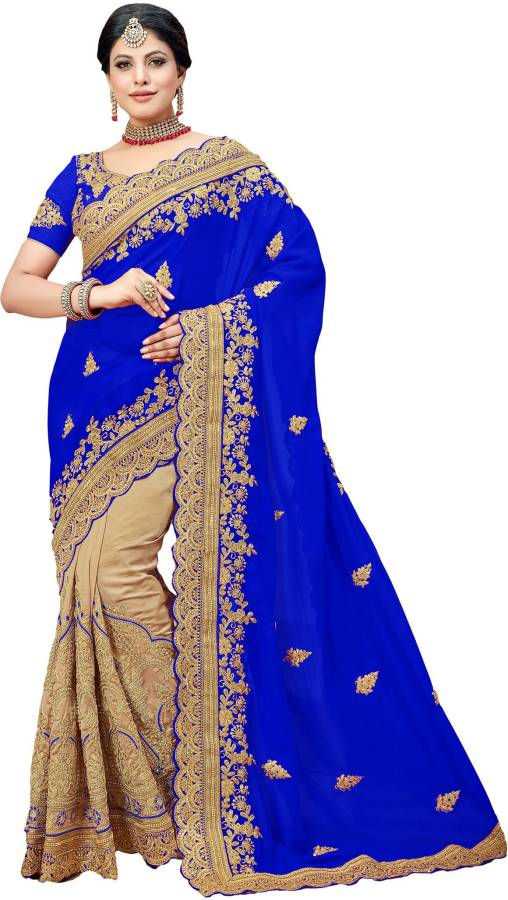 Embroidered Fashion Silk Blend Saree Price in India