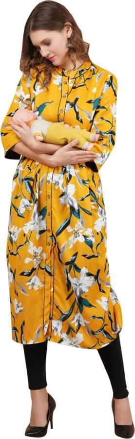 Women Printed Linen Blend A-line Kurta Price in India