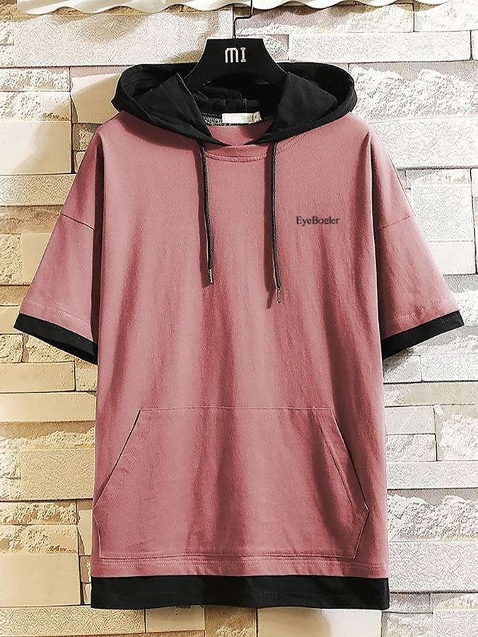 Solid Men Hooded Neck Pink T-Shirt