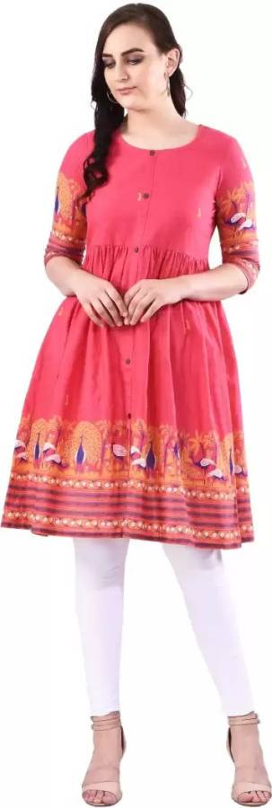 Women Printed Pure Cotton Frontslit Kurta Price in India