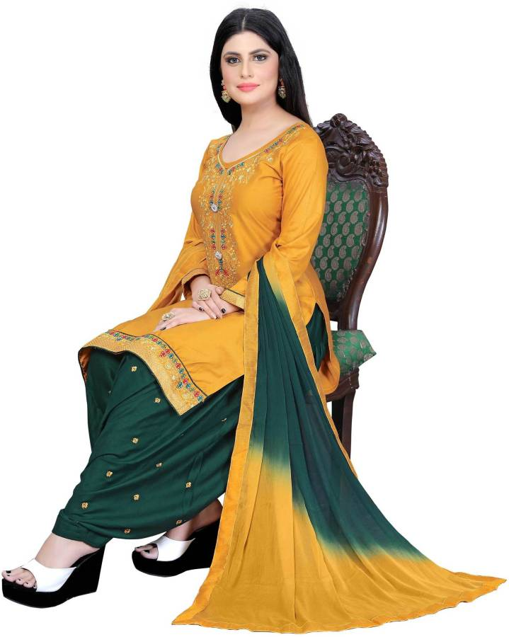 Cotton Embroidered Salwar Suit Material Price in India