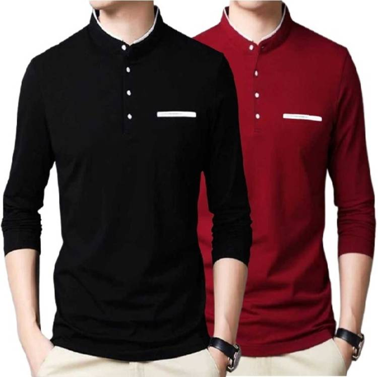 Solid Men Mandarin Collar Maroon T-Shirt Price in India