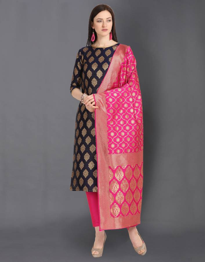 Poly Silk Woven, Embellished Salwar Suit Material Price in India