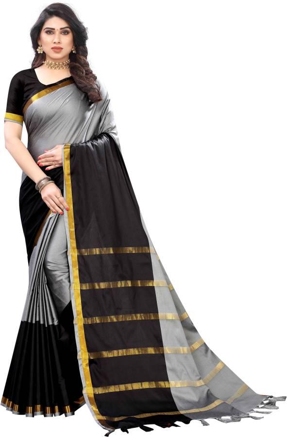 Striped Fashion Cotton Silk Saree Price in India