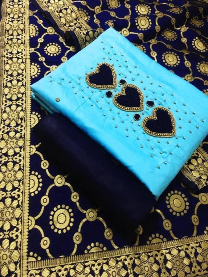 Cotton Embroidered Kurta & Churidar Material Price in India