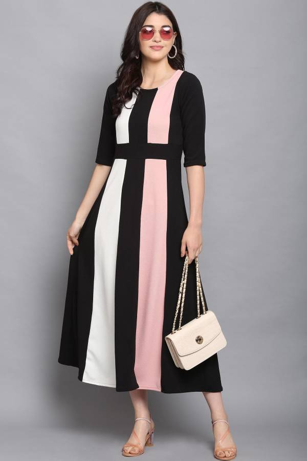 Women Fit and Flare Multicolor Dress Price in India