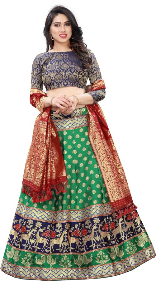Floral Print Semi Stitched Lehenga Choli Price in India