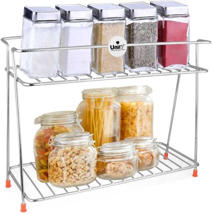 UNIFY Stainless Steel Spice 2-Tier Trolley Container Organizer Organiser/Basket for Boxes Utensils Dishes Plates for Home (Multipurpose Kitchen Storage Shelf Shelves Holder Stand Rack), Heavy Duty Stainless Steel Wall Shelf